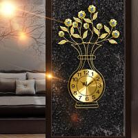 花瓶钟表挂钟客厅现代简约创意时钟欧式静音个性时尚卧室石英钟 20英寸
