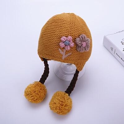 婴儿毛线帽女宝宝帽子冬季4个月-2岁1可爱小辫子公主帽女童针织帽 黄色 毛线花辫子 均码 发货周期:一般在付款后2-90天左右发货,具体发货时间请以与客服协商的时间为准