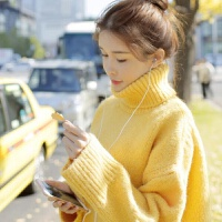 秋冬新款韩版慵懒加厚黄色宽松中长款高领毛衣针织衫外套女潮 均码