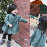 女童秋冬季加绒加厚毛呢大衣女宝宝保暖外套绿色开衫粉色呢子衣