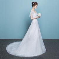婚纱礼服韩式v领主婚纱礼服新款新娘小拖尾大码V领简约显瘦一字肩孕妇 V领小拖尾婚纱