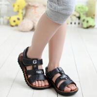 新款牛皮潮儿童宝宝凉鞋时尚防滑中大童黑色防滑男童凉鞋