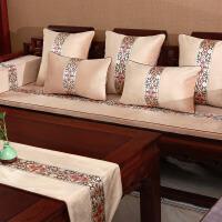 中式红木沙发坐垫加厚绒防滑实木家具沙发垫冬季罗汉床垫子五件套中式刺绣坐垫沙发坐垫沙发垫夏季凉垫布艺简 雕栏玉砌 卡其
