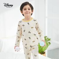 迪士尼男童米奇2021春装内衣套装儿童睡衣家居服宝宝秋衣秋裤