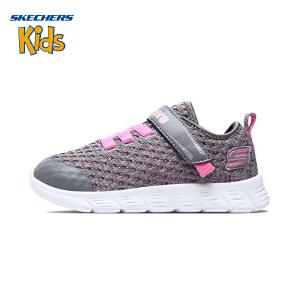 斯凯奇童鞋 (SKECHERS)时尚女童鞋 轻便透气女童运动鞋 魔术贴儿童鞋女SK82188NAO3-GYPK 灰色/粉红色