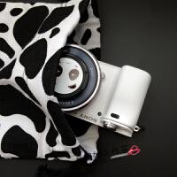 黑白奶牛帆布束口袋相机包 拍立得收纳整理 A6000内胆包 双层加绒