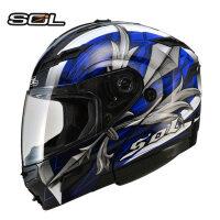 摩托车头盔双镜片男女士夏季揭面盔带ED灯机赛车全盔四季