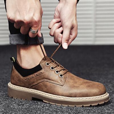 马丁鞋男秋季英伦复古加绒低帮短靴子休闲大头皮鞋韩版工装男鞋子