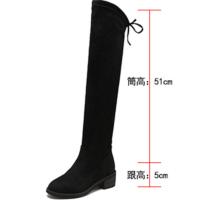 长靴女过膝2018新款高筒靴秋冬季平底长筒靴显瘦弹力靴粗跟靴子女软底