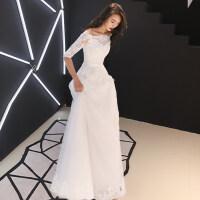 白色新娘婚纱礼服2018新款一字肩出门纱复古赫本风轻婚纱森系超仙