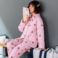 冬季加厚棉夹棉女睡衣胖妹妹加肥加大码200斤棉袄特大码5XL套装