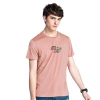 camel 骆驼男装 年夏季新款年青年休闲短袖T恤 纯色圆领印花上衣