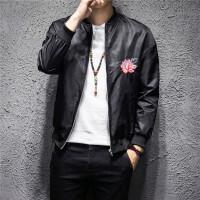 薄款中国风复古运动外套男韩版宽松刺绣花夹克衫青少年棒球服上衣 黑色 JK07