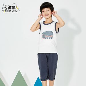 小虎宝儿旗舰店男童背心套装夏季新款纯棉无袖T恤短裤两件套童装