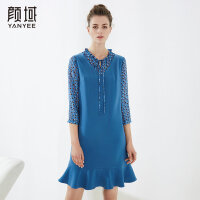 颜域品牌女装2018夏装新款知性时尚假两件荷叶V领绑带鱼尾连衣裙