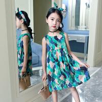 女童碎花背心裙夏中大童小学生韩版连衣裙小女孩洋气裙子