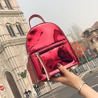 双肩包女2018春新款百搭漆皮镜面学生书包韩版时尚大容量背包潮包