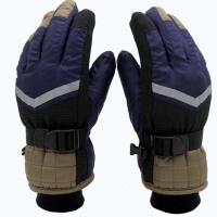 户外骑车五指滑雪 男童款厚防寒学生反光条手套 冬季保暖儿童分指手套