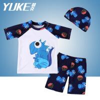 儿童游泳衣男童宝宝2-3-4-5-6-7-8-9岁10男孩小学生平角泳裤套装 白色