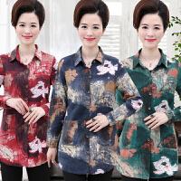 秋装新款长袖衬衫开衫40-50岁妈妈装中年妇女装春秋棉麻上衣花色