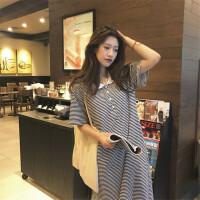 夏季韩版POLO领细条纹中长款宽松侧开叉懒人短袖T恤连衣裙女 图片色 均码