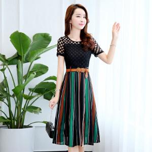 蕾丝连衣裙女春装2018新款时髦流行女装韩版显瘦条纹雪纺裙子女夏