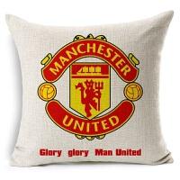 欧洲杯被枕头足球俱乐部 曼联足球抱枕 亚麻棉麻沙发抱枕宜家汽车靠垫软装装饰枕 曼联 含 曼联