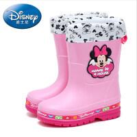迪士尼儿童雨鞋男童水鞋女童雨靴宝宝水靴小童中大童学生防滑胶鞋 (带绒套)