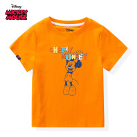 【限时秒杀:29.9元】迪士尼米奇米妮系列童装男童夏装2020春夏新品短袖T恤上衣橙色