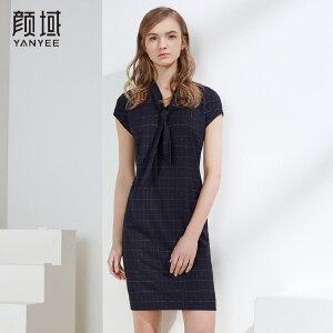 颜域品牌女装2018新款优雅复古格子连衣裙夏蝴蝶结短袖修身裙子女