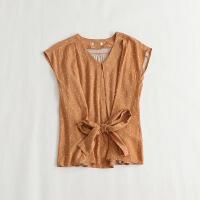 短袖衬衫 圆领印花系带舒适人棉麻套头日系上衣