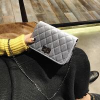 包包新款女包潮韩版百搭单肩斜挎包丝绒菱格链条小方包
