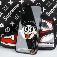 好尔苹果x手机壳iPhonexr玻璃壳xsmax旺仔iphonex红色xs手机壳xmax牛奶个性创意