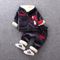 宝宝秋冬装加绒卫衣套装0一1-3岁男童加厚两件套婴儿衣服洋气韩版巴拉