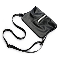 2018新款商务休闲单肩背包韩版男包小包时尚撞色皮质单肩包斜跨包 黑色