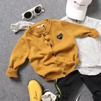 男童针织开衫外套秋款新品儿童宝宝爱心标细毛线衣黄色百搭款