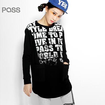 【不退不换】PASS原创潮牌冬装 渐变字母印花不规则中长款长袖卫衣女6540521142