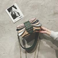 时尚蛇纹小方包包女2018新款潮铆钉手提单肩包韩版宽带撞色斜挎包