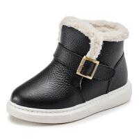 儿童雪地靴2018冬季新款男童鞋真皮加绒女童棉靴子短靴加厚