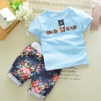 童装T恤可爱男童女宝宝衣服夏款短袖儿童套装0-1-2-3-4岁夏装 金蓝色 门金兰色 120码 /建议身高105-11