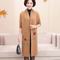 中年女装秋装外套羊毛大衣妈妈装中长款开衫中老年人40-50岁风衣