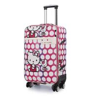 卡通万向轮美女拉杆箱24寸学生密码旅行拖箱男女图案行李皮箱潮包 玫红色 玫红色猫款
