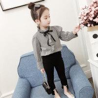 女童春装长袖衬衣外套高领荷叶边新款棉质上衣儿童女孩韩版潮