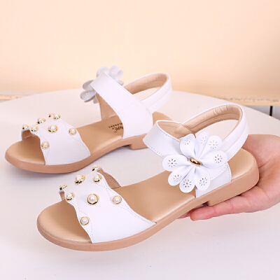 女童凉鞋夏季真皮软底防滑小女孩公主学生儿童凉鞋女