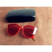 太阳镜女潮韩版圆脸眼镜2017新款墨镜男 海洋红 FF同款