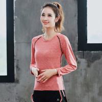 韩版跑步运动宽松休闲长袖瑜伽上衣女 新款显瘦健身服女圆领T恤女运动装