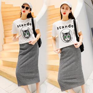 2018夏季新款女装时髦套装时尚韩版印花T恤修身半身裙俏皮两件套