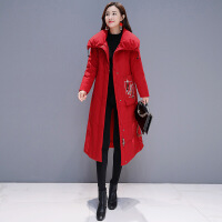 名媛红色羽绒服女中长款抗寒冬装红色过膝长款时尚白鸭绒潮 红色 L