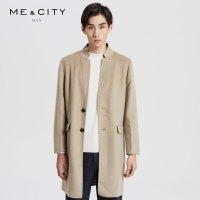 【2件1.5折价:269.9,可叠券】MECITY男装纯羊毛立领中长款双面呢大衣男韩版宽松
