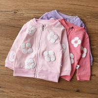 婴儿童装女童宝宝夹克开衫 女宝宝花朵拉链衫外套 毛圈棉卫衣开衫